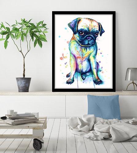 Pug - Colorful Watercolor Print