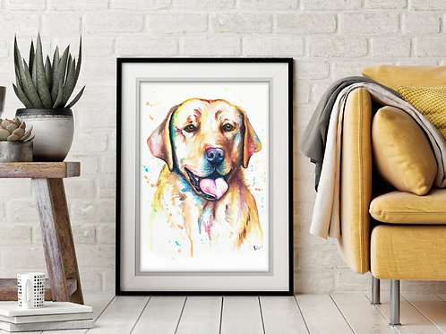 Yellow Lab - Colorful Watercolor Print