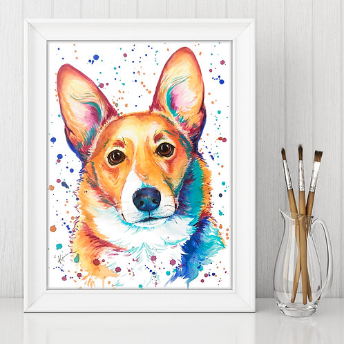 Corgi - Colorful Watercolor Print