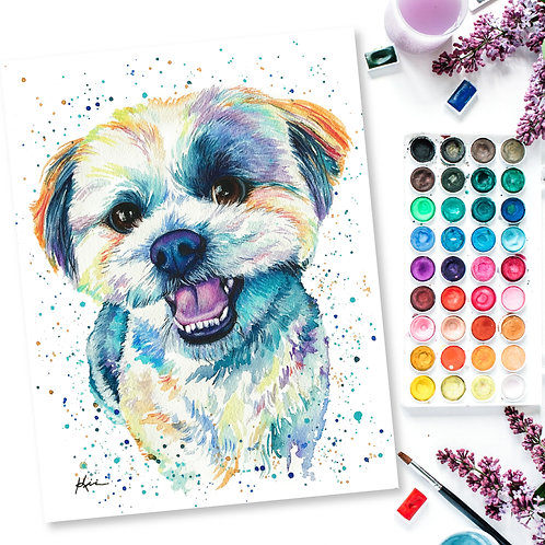 Watercolor Pet Portrait on 100% Cotton Cold-Pressed Paper **FRAME NOT INCLUDED