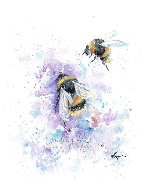 Bumblebee - Colorful Watercolor Print