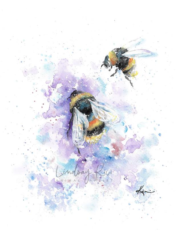Bees, Watercolor