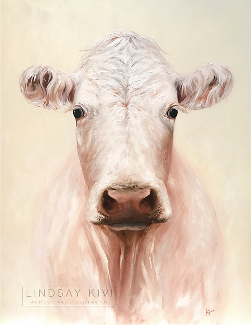 """""""The White Cow"""" Print on Unstretched Canvas"""