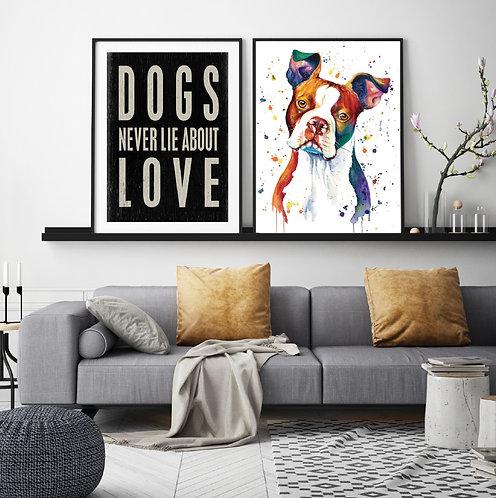 Boston Terrier - Colorful Watercolor Print