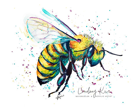 """God Save The Queen (Bee)""- 8x10 Original Colorful Watercolor **Unframed"