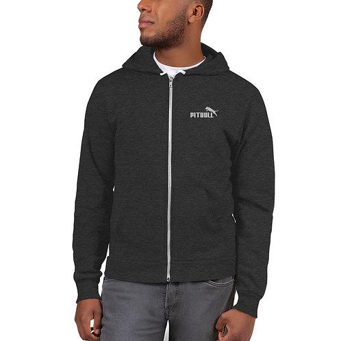 "Unisex ""Pitbull"" Embroidered Flex Fleece Zip Hoodie"