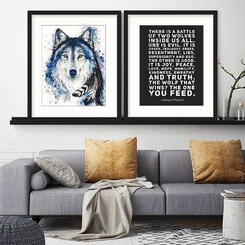 Feed The Good Wolf - Watercolor Print