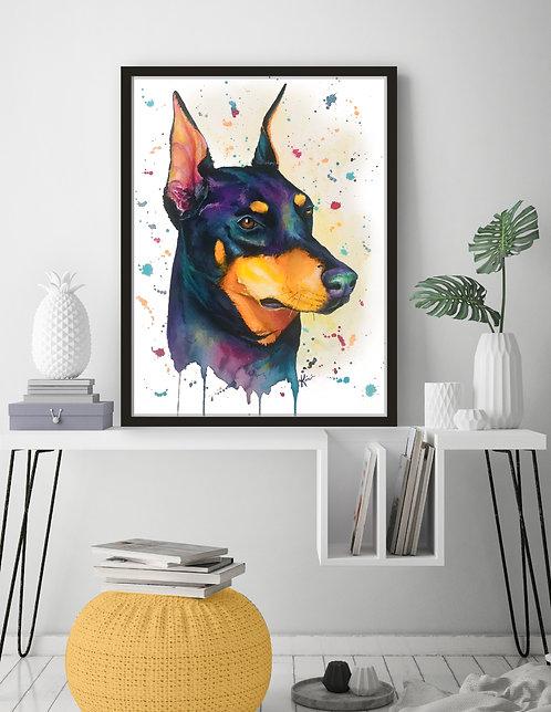 Doberman - Colorful Watercolor Print