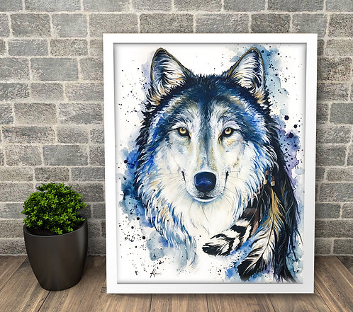 Feed The Good Wolf - 16x20 Original Watercolor **Framed