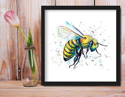 """""""God Save The Queen (Bee)""""- Colorful Watercolor Print"""