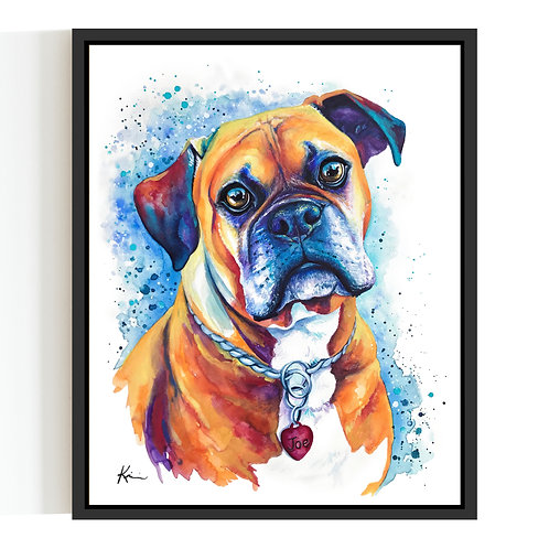 Watercolor Pet Portrait on a Clayboard Wood Panel **FLOATER FRAME INCLUDED