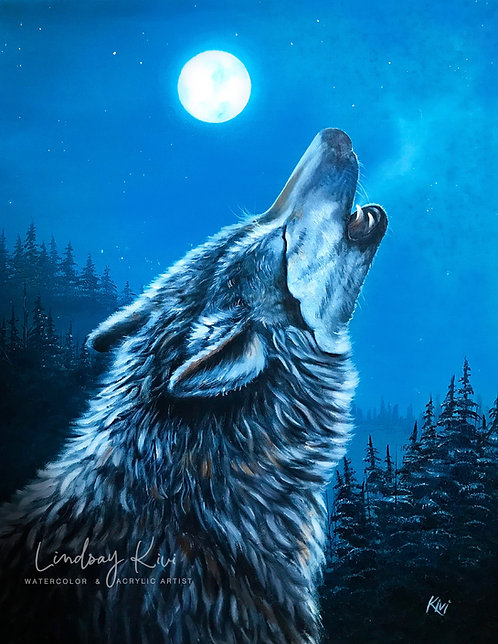 """""""The Grey Wolf"""" Print on Unstretched Canvas"""