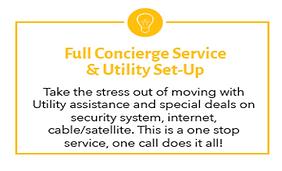 full concierge service & utility set-up