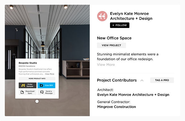 Commercial design project and installation photos on Mortarr come standard with Pro and Product Tags. Now you can see a product and easily find out where to source it. Gather info and make connections right on the images.