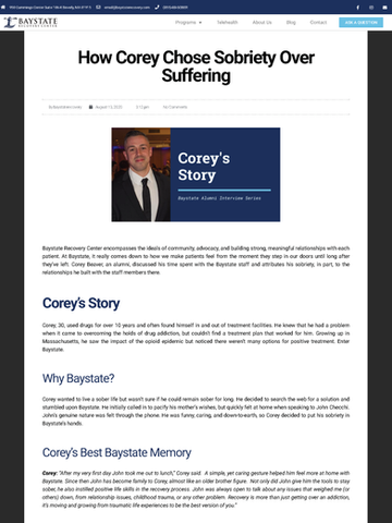 How Corey Chose Sobriety Over Suffering, Baystate Recovery Center
