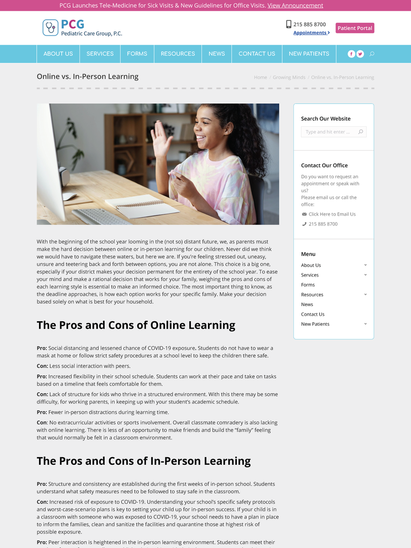 Online vs. In-Person Learning, Pediatric Care Group