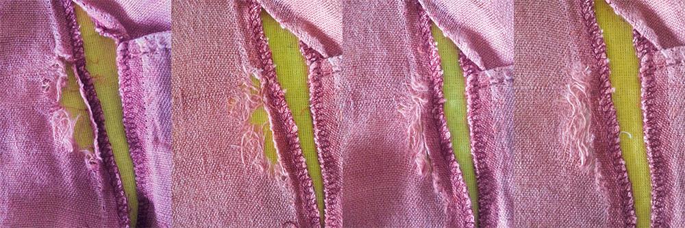 primer paso: reposición los hilos del tejido