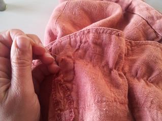 Historia de un zurcido. Alargando la vida a una falda de lino.