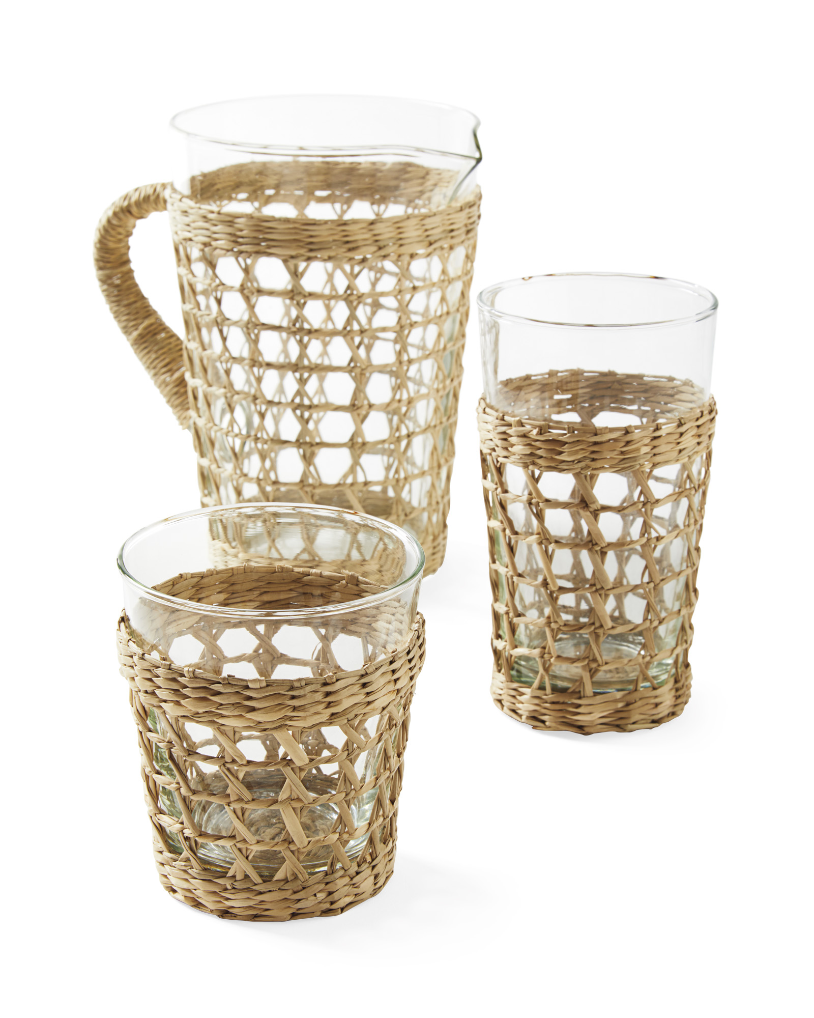 Cayman_Seagrass_Wrapped_Glassware_Family