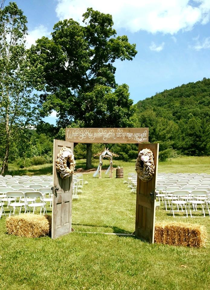ceremony set by the tire swing