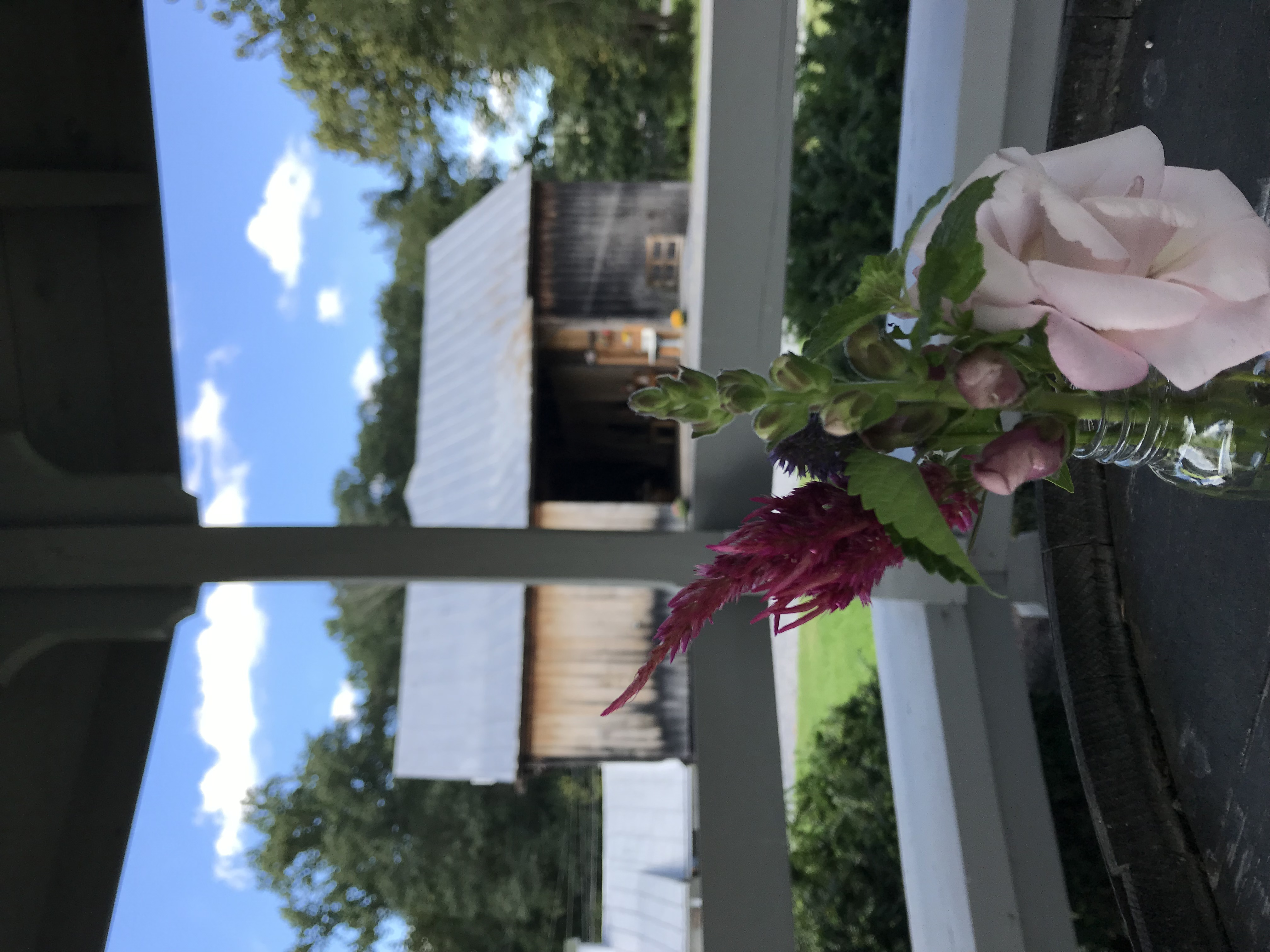 view of the barn from the gazebo