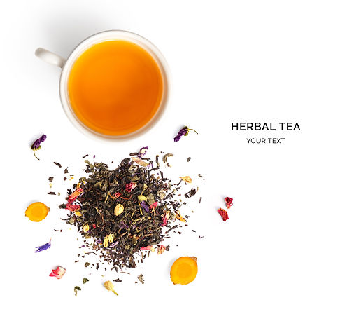 Creative layout made of cup of herbal te