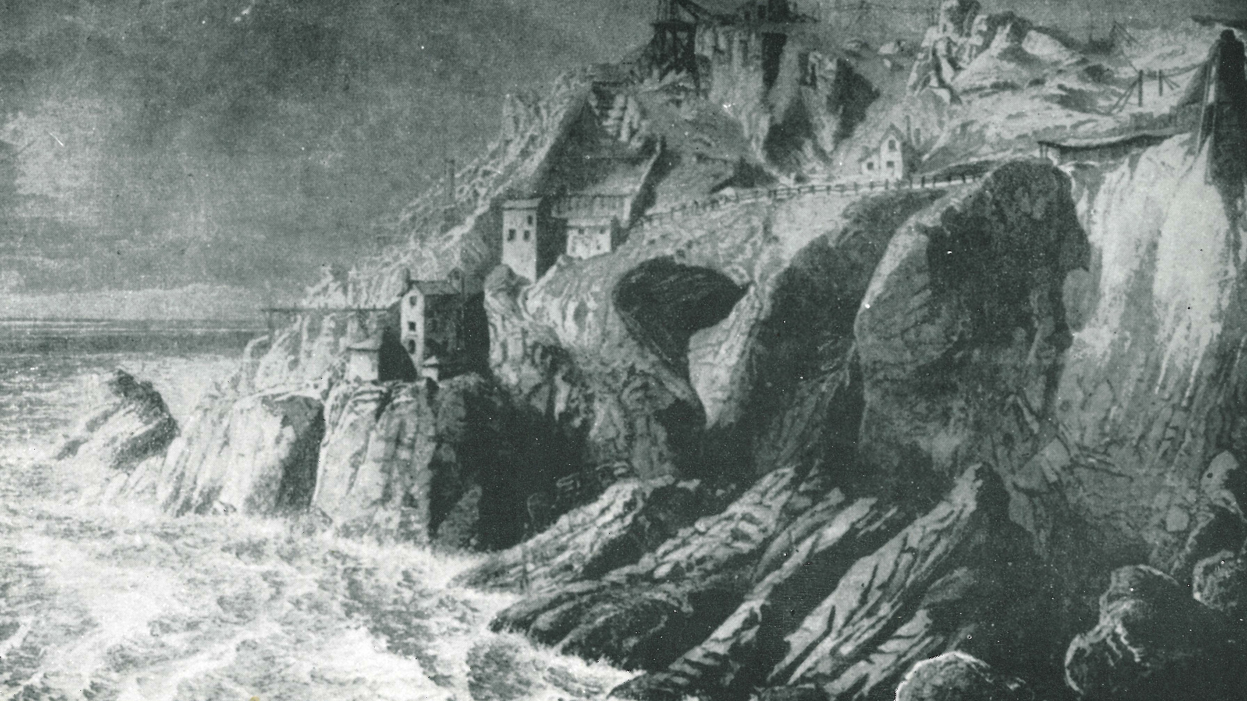 An engraving of the Crows section of Botallack in the 1870's showing the spectacular position of the mine