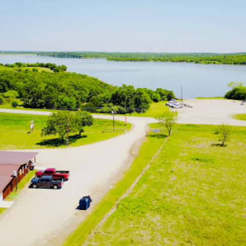 Aerial photo of park entrance across from public boat ramp