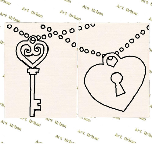 Couples Lock and Key Pre Drawn Canvas Kit, Sip and Paint Canva