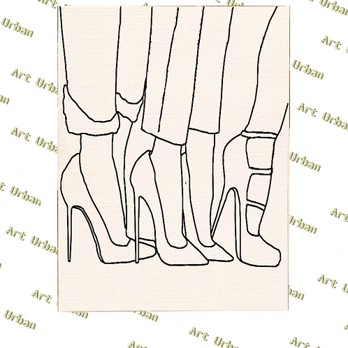 Heels 3 Pre Drawn Canvas for Painting, Sip and Paint Canvas, Art