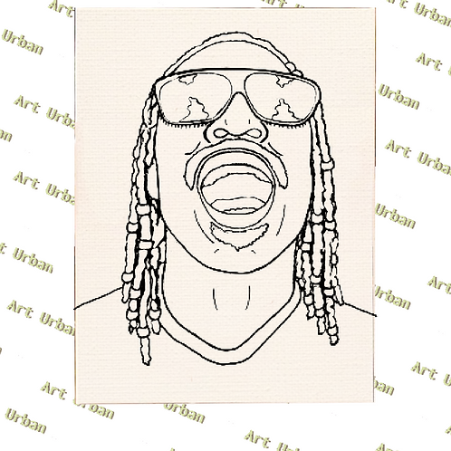 Stevie Wonder Pre Drawn Canvas for Painting, Sip and Paint Canva
