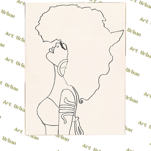 Africa Hair Pre Drawn Canvas for Painting, Sip and Paint Canvas, Art Act