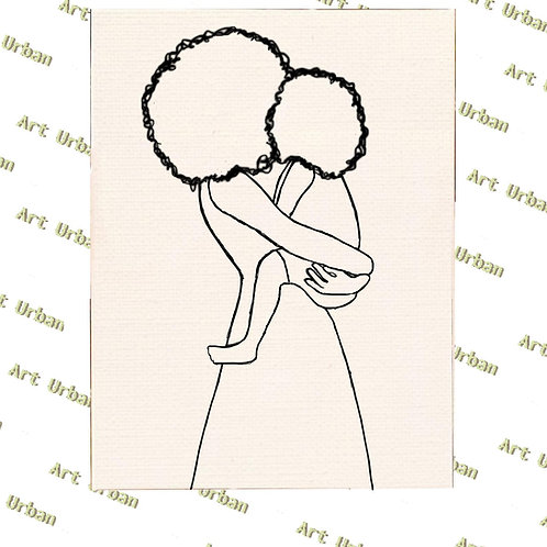 Afro Mother and Child Pre Drawn Canvas for Painting, Sip and Paint Canvas, Ar