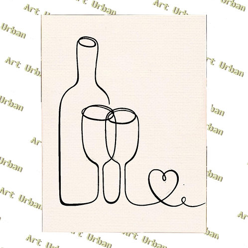 Bottle Glass Heart Pre Drawn Canvas Kit, Sip and Paint Canva