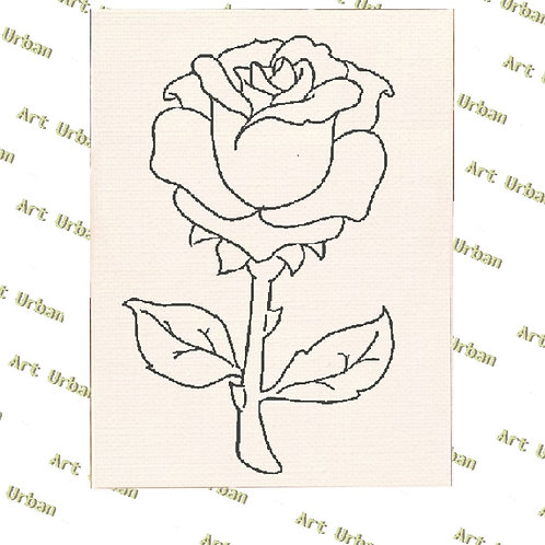 The Rose Pre Drawn Canvas for Painting, Sip and Paint Canva