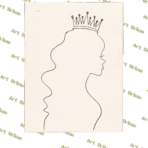Queen Silhouette - 16x20 Pre Sketched Canvas