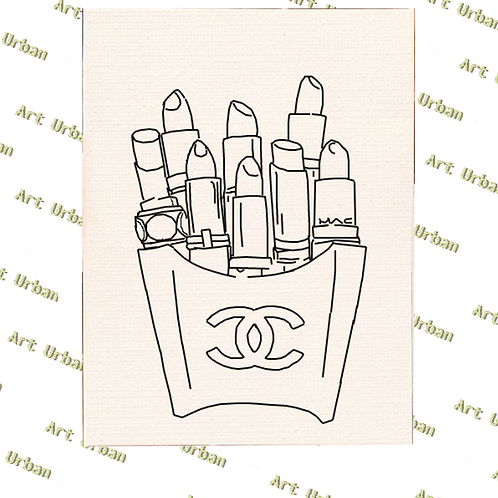 Chanel 1 Pre Drawn Canvas for Painting, Sip and Paint Canva