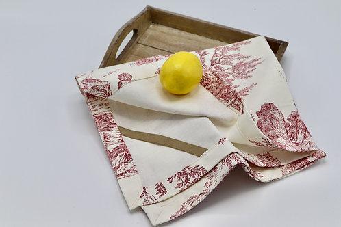 Torchon à vaisselle en coton dessin toile de Jouy rouge
