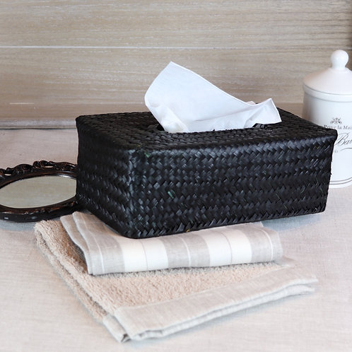 Boite de mouchoirs noire en palmier