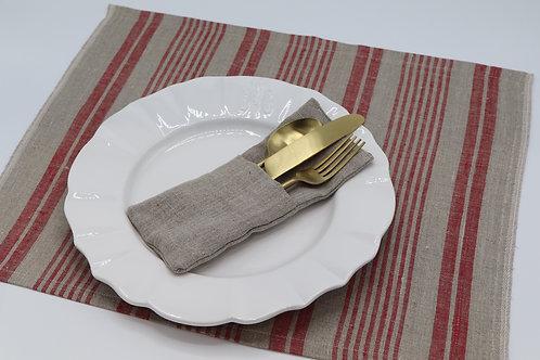 Set de table en pur lin ficelle à rayures rouges