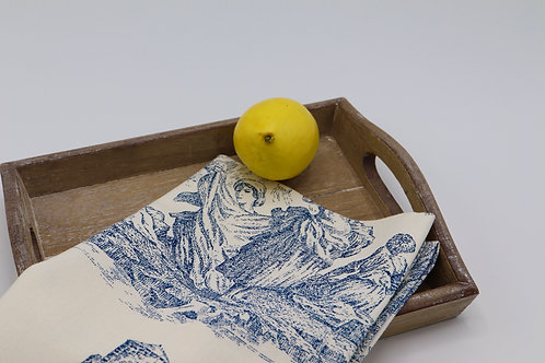 Torchon à vaisselle en coton dessin toile de Jouy