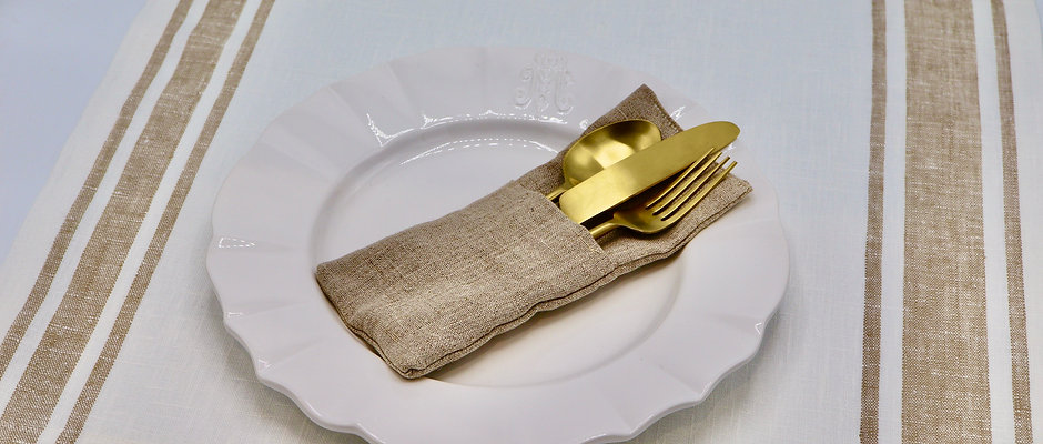 Set de table en lin écru rayé beige