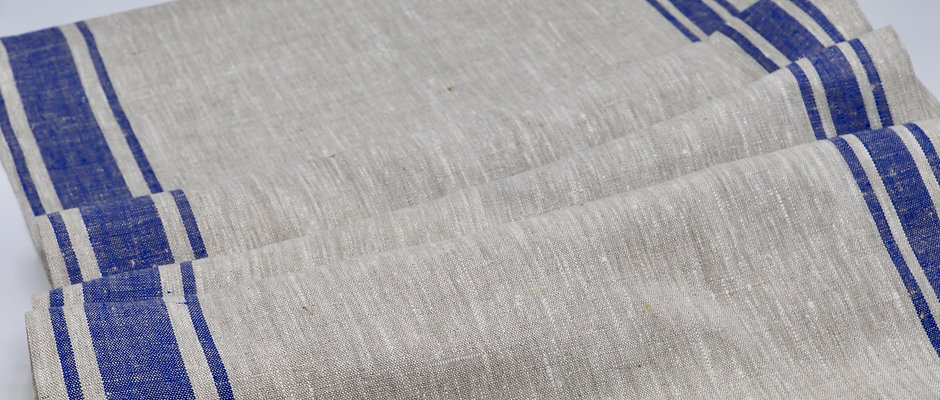 Chemin de table en lin chiné rayé bleu roi