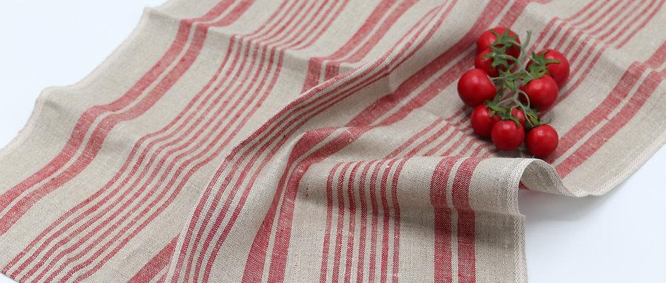 Torchon à vaisselle en pur lin, de couleur naturel et rouge