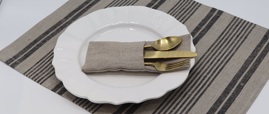 Set de table en pur lin ficelle à rayures noires