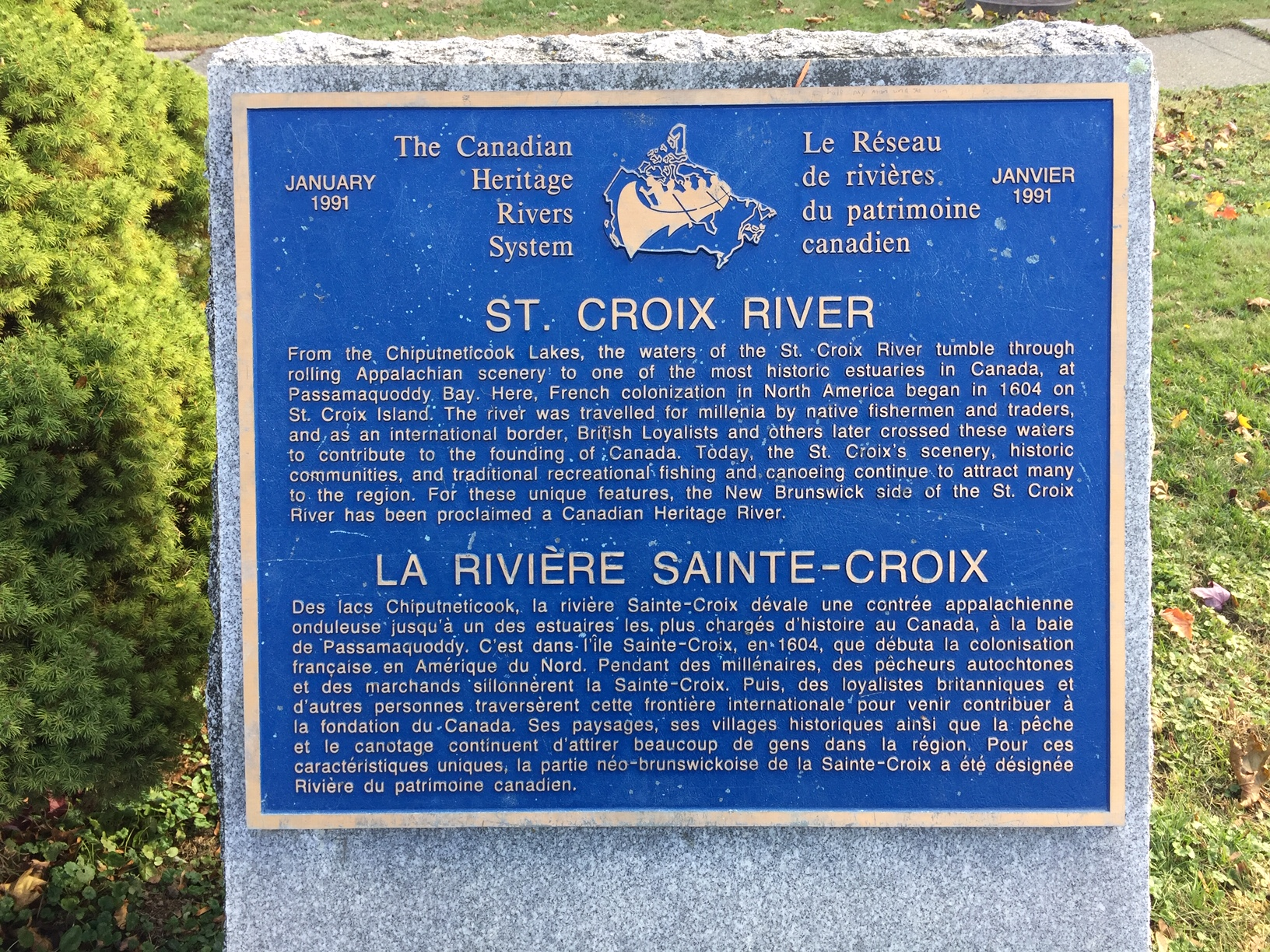 Canadian Heritage River Plaque