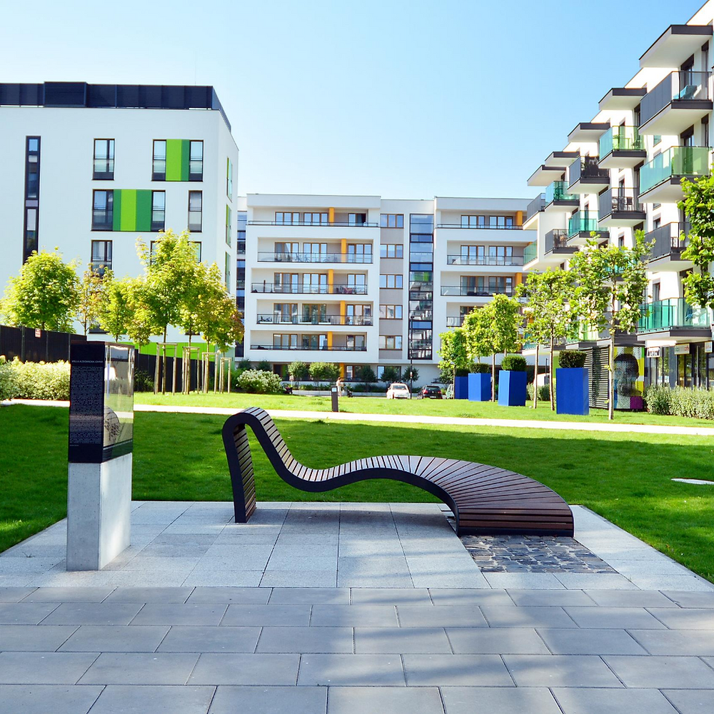 apartment buildings in a multifamily complex