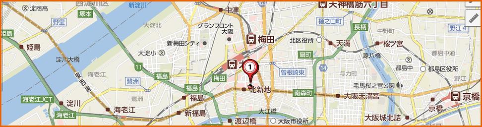 くじらおでん くじらや梅田店地図