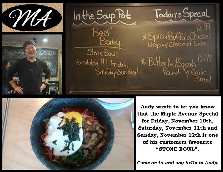 "Andy's ""Stone Bowl Special"" is back at Maple Avenue for Friday, Saturday and Sunday (N"