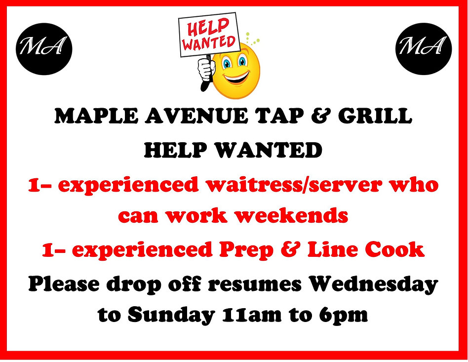 Help wanted for waitress and line cook.j